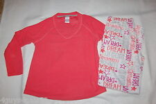 ee75fc857b0a Womens L S Pajamas Set CORAL ORANGE TOP Microfleece DREAM White Pants XL 16-