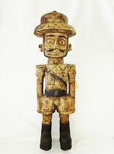 """19Ct African Zaire Luba Tribe Carving Colonial Officer Sculpture 23.5"""" (Eic)"""