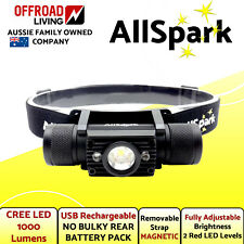 Head Torch AllSpark 1000 Lumen CREE LED USB Rechargeable Lithium Magnetic
