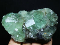 414g Natural beauty rare translucent green cube fluorite mineral specimen/China