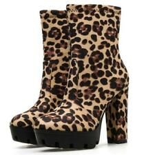 Women's Platform Ankle Boots Knight Motor Casual Outdoor Block High Heel Shoes D