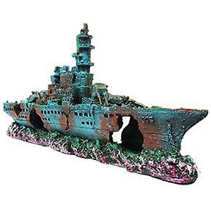 Aquarium Sunk Ship Wreck Navy Boat Decoration Vessel Ship Fish Tank Ornament
