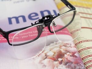 Clip On Magnifying Reading Glasses, Flip Up Spectacles, 2.5 x Magnifier Lenses
