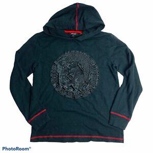Diesel Boys Hoodie Jacket Black Only The Brave Applique Red Detail Size L 14-16