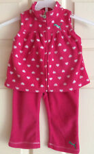 PUMA Baby Girl 2-Pc Set Pink White Fleece Full Zip Vest & Pants~ Size 6-9 Months