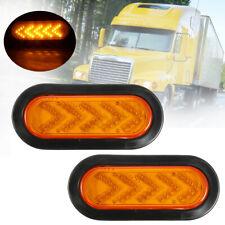 "2 Pcs Trailer 6"" 35 LED Oval Amber Tail Arrow Mid Turn Signal Light Lamp"