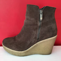NEXT Brown Suede Leather Wedge Heel Side Zip Comfort Ankle Boots UK 3.5 EUR 36