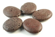 50X40MM COFFEE VOLCANIC BASALTIC LAVA GEMSTONE GRADE AA OVAL LOOSE BEADS 10""