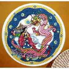 """Design Works Counted Cross Stitch Kit DRAGON CIRCLE Finishes 14"""" Round"""