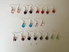 925 Sterling Silver Dangling Crystal Glass Heart Drop Hook Earrings *OFFER*