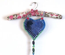 HANDMADE HANGER FABRIC LACE RIBBONS AND CROCHET HEART  WITH BEADS MULTI COLOR