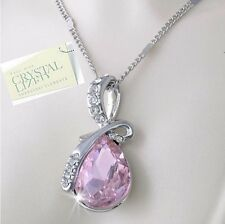 SWAROVSKI CRYSTAL Drop Pink Pear Pendant Gold Plated Necklace Gift Mum Daughter