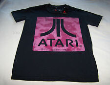 Atari Video Game Logo Mens Black Printed Short Sleeve T Shirt Size S New