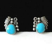 Vintage Navajo Sterling Silver Turquoise Button Earrings