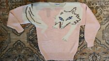New listing Vtg 80's Magnolia Sz L fox or wolf character sweater Beads Sequins Euc
