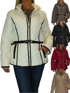 Ladies Plus Size Quilted Jacket, Hood, Lightweight With Belt 12-20