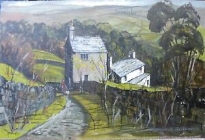 Maurice.A. Greenwood RCA Acrylic painting board mixed media Welsh Art Cottages