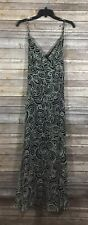 Talbots NWT Womens V Neck Printed Long Tie Dress 12 Black White 100% Silk U56