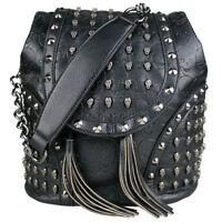 Retro PU Leather Skull Embossed Studded Goth Backpack Shoulder Bag Handbag Tote