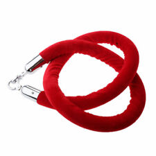 1.5 Meter Velvet Rope Red with Silver End Stanchion Velvet Queue Line Barriers