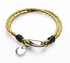 Men's Unisex Genuine Braided Leather Stainless Steel Clasp Bracelet Green B2