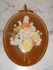 Beau et  grand cadre  vintage fleurs tissus verre bombée TBE tissus velours