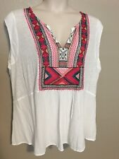 $60 (NWT) Lucky Brand Women's White Embroidered Bib Top Plus Size 1X
