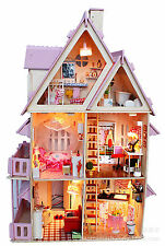 Kits dream DIY Wood Dollhouse with light miniature and Furniture large villa 4