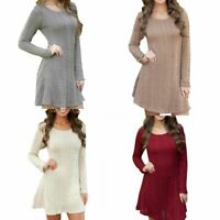 US Womens Mini Dress Round Neck Pullover Jumper Knitted Sweater Casual Party