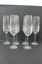 Vintage Bohemia Crystal Wellington Champagne Flutes with Smooth Stem x 6