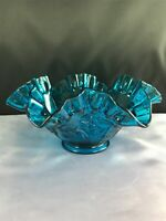 Westmoreland Glass Bermuda Blue Rose And Trellis Ruffle Edge Footed Bowl