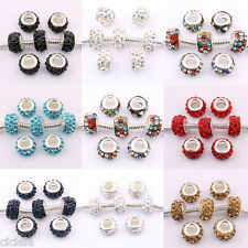 New Lots 5/20Pcs Crystal Rhinestones Beads Fit European Bracelet Charm 11x7mm