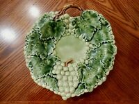 "Vintage CALDAS Majolica Portugal GRAPE Leaf Shaped Serving Dish 12"" #498"