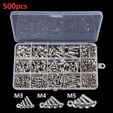 500X Assorted M3 M4 M5 Stainless Steel Hex Screws & Socket Bolts and Nuts Kit