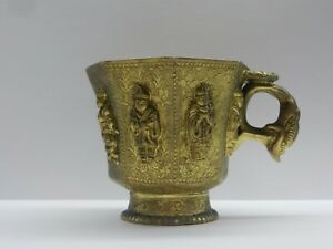 Antique Chinese Gilt Bronze Octagonal Cup with Figures.  19th C
