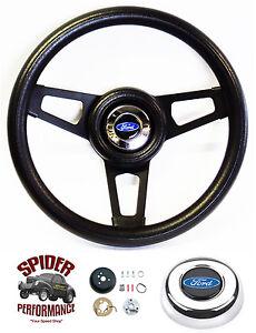 "1970-1977 Ford F-Series steering wheel BLUE OVAL 13 3/4"" BLACK SPOKE"