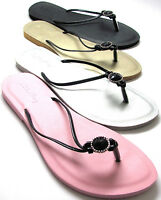 Womens Black Beaded Medallion Flat Thongs Flip Flops Sandals Size 6 - 11 NEW
