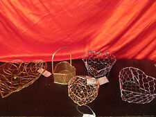 5 Wired Heart Shaped Baskets Valentines Day Candy Holders