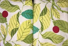 "1 Pair IKEA STOCKHOLM BLAD Curtains Green Leaves & Red Berries 57""x 84"" Panels"