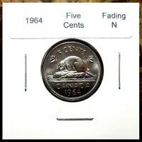 Canada 1964 Five Cents Fading N Variety Gem BU!!