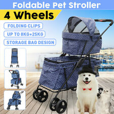 2 in 1 Detachable Foldable Double Deck Walk Travel Pet Stroller Carrier