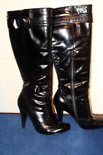 echte Lackleder Stiefel schwarz Gr. 39 hoher Absatz s.Bilder