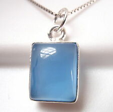 Small Chalcedony Simple Rectangle 925 Sterling Silver Necklace New