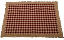 Country Barn Red Lined Placemat Check Cotton Brown Lace Trim Farmhouse Kitchen