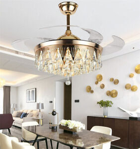 "42"" Luxury Crystal Gold LED Chandeliers Invisible Ceiling Fan Light w/ Remote"