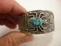 Philander Begay Navajo Bracelet Cuff Turquoise Spider Sterling Silver Tufa Cast