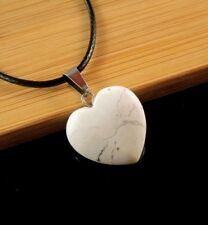 White Howlite Gemstone Heart Pendant on a Black Waxed Cord Necklace #533