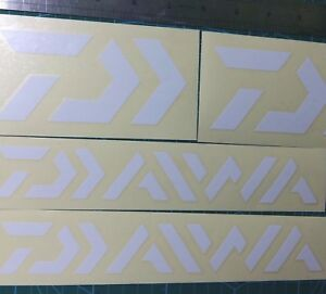 LOT of (4) Fishing Decals Fishing Stickers DAIWA WHITE for Brand Lovers