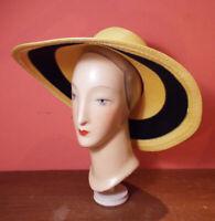 Vintage Frank Olive STRAW HAT Large Yellow & Black Wide Brim Sun NEIMAN MARCUS