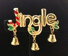 Christmas Jingle Brooch Pin Retro Gold-tone Enameled Candy Cane Dangling Bells